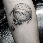 dotwork hot air balloon tattoo design