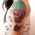 half sleeve hot air balloon tattoo design
