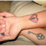 heart and lock wrist tattoo