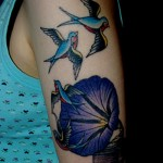 morning glory and swallow tattoo