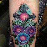 cross and morning glory tattoo