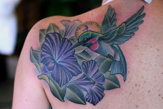 hummingbird and morning glory tattoo