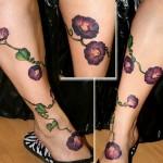 morning glory tattoo designed on leg