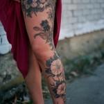 leg morning glory tattoo