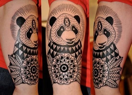 black ink panda bear tattoo