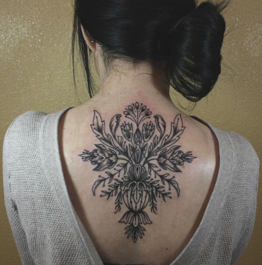 Baylen Levore baroque tattoo design on back