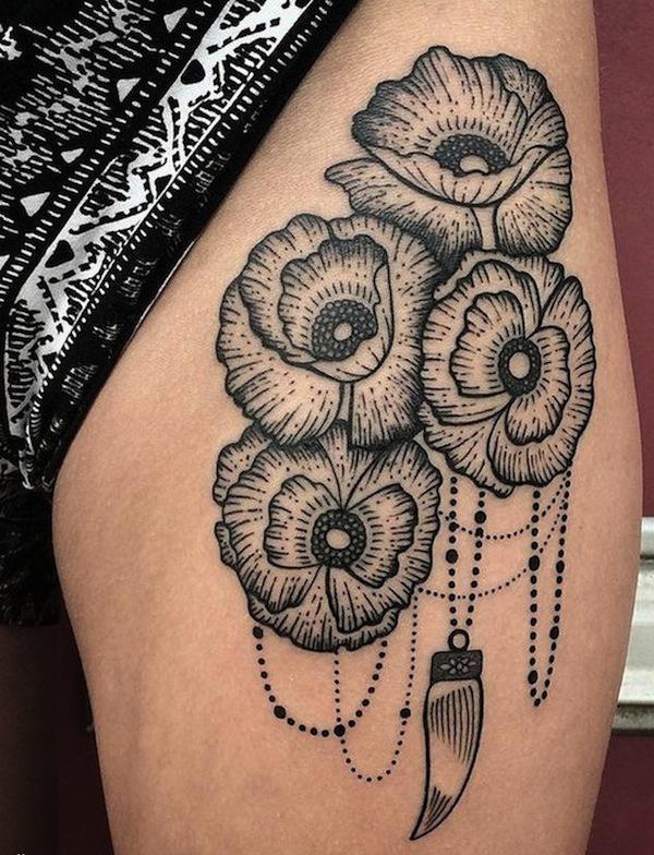Dino Nemec poppy tattoo design in baroque style