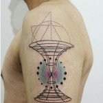 Aline Wata artistic half sleeve tattoo