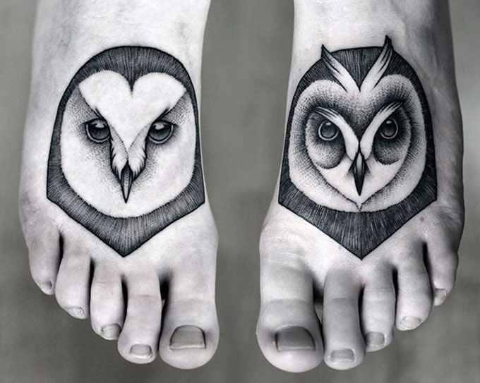 Kamil Czapiga black owl tattoo