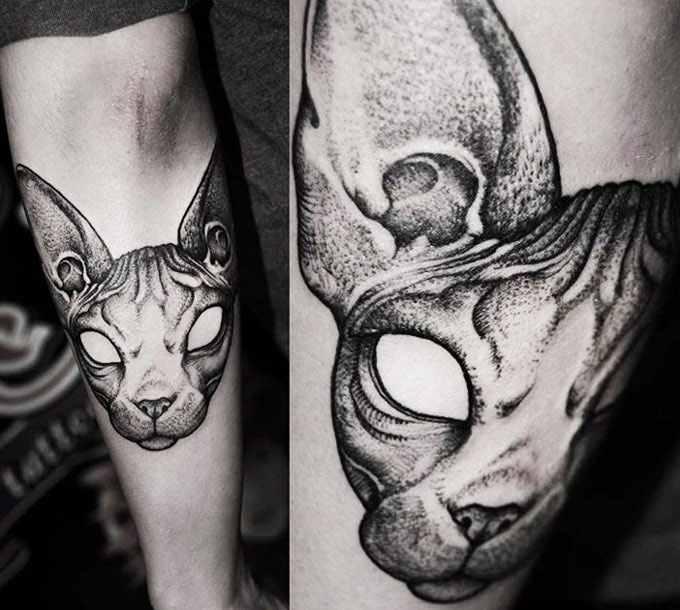 Kamil Czapiga black cat tattoo design