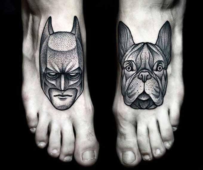 Kamil Czapiga black tattoo designed on feet
