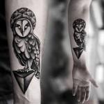 Kamil Czapiga cute owl tattoo design in black