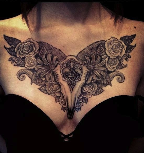 incredible baroque style tattoo design on ribcage