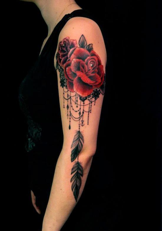 red rose baroque tattoo design