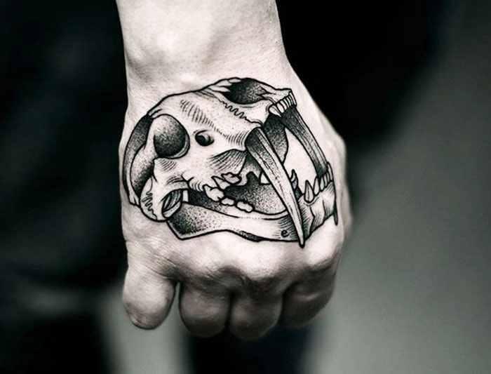 Kamil Czapiga skull tattoo on hand