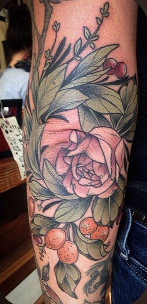 Alice Kendall detailed tattoo design on arm