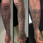 Alvaro Flores half sleeve geometric tattoo design