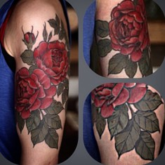 Alice Kendall red rose tattoo design