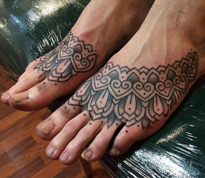 Alvaro Flores tattoo design on feet