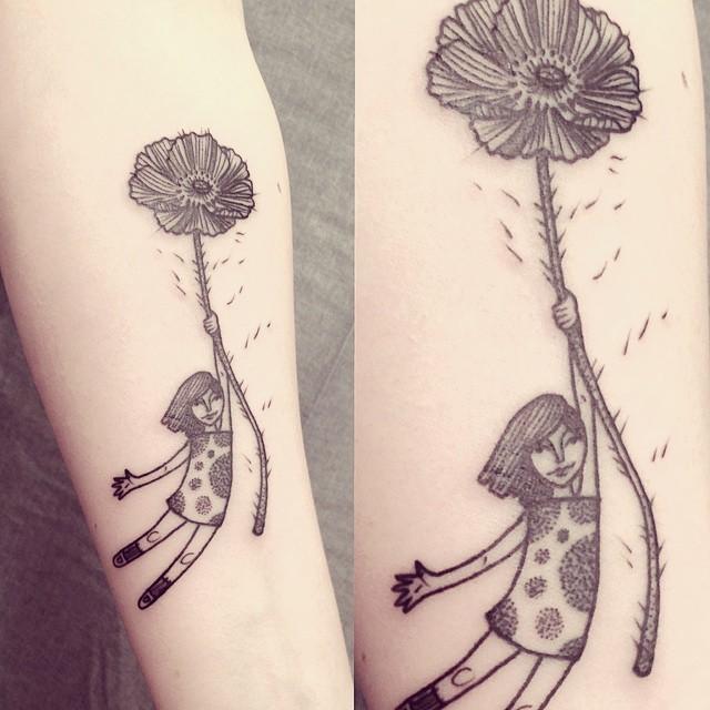 Ana Work poppy girl tattoo design