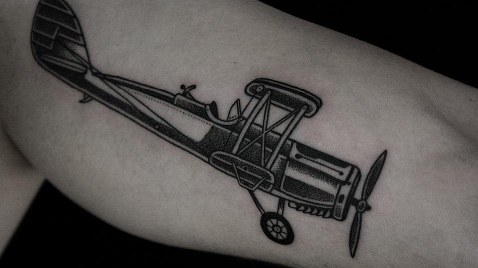 Ilya Brezinski airplane tattoo design