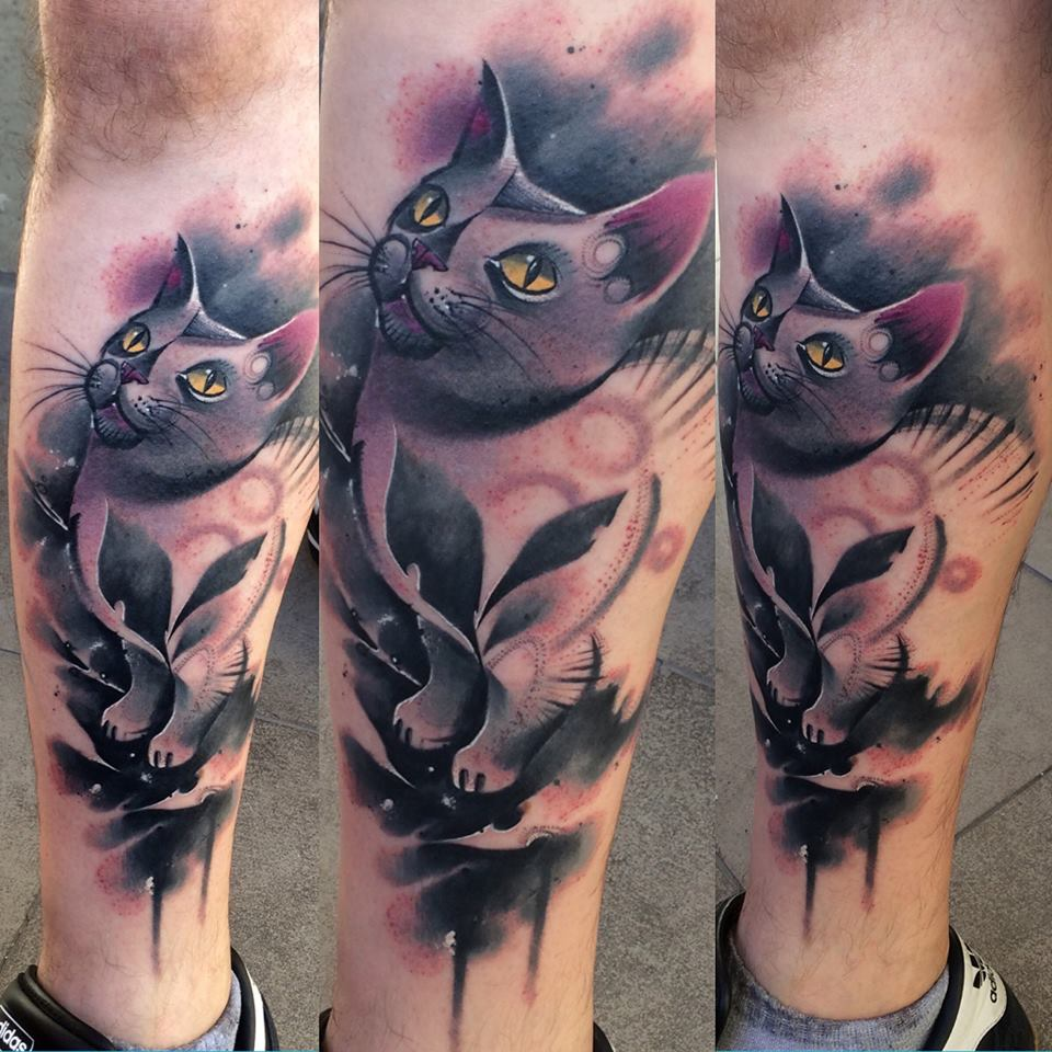 Lukasz Kaczmarek cute cat tattoo design