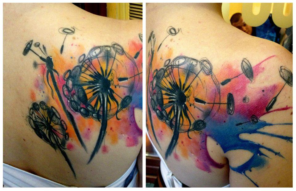 Lukasz Kaczmarek dandelion tattoo design