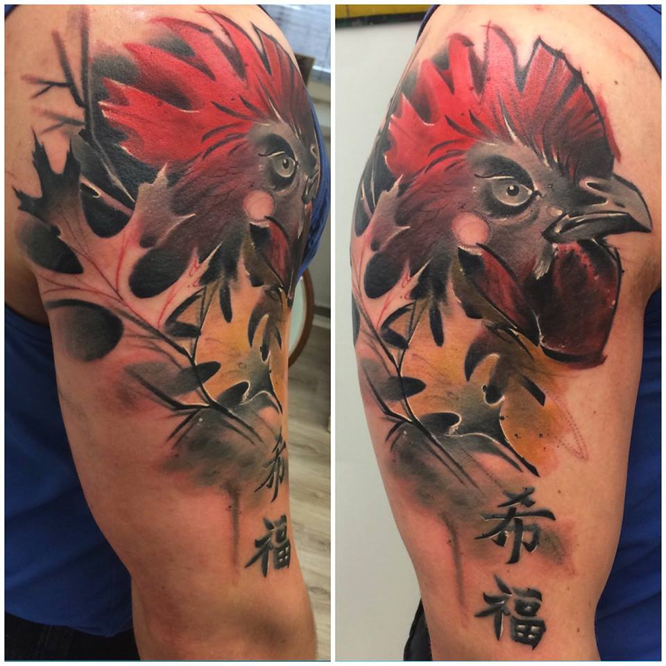 half sleeve tattoo designed by Lukasz Kaczmarek
