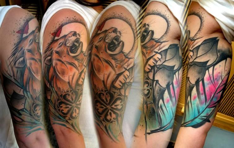 Lukasz Kaczmarek lion full sleeve tattoo design