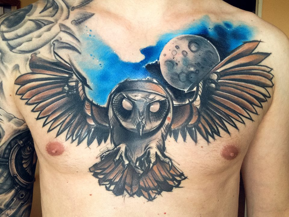 Lukasz Kaczmarek owl tattoo design