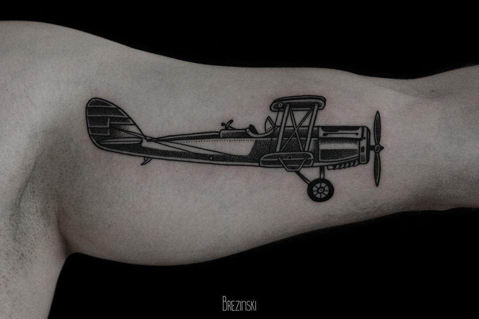 Ilya Brezinski plane tattoo design