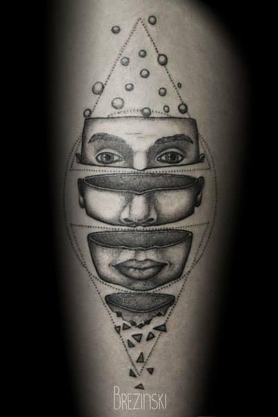 spectacular black and white tattoo by Ilya Brezinski