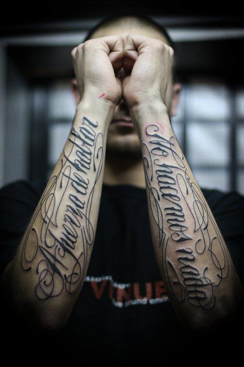 Sadhu le Serbe text tattoo design