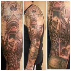 horror cemetery tattoo designed by Dennis Paul Kline