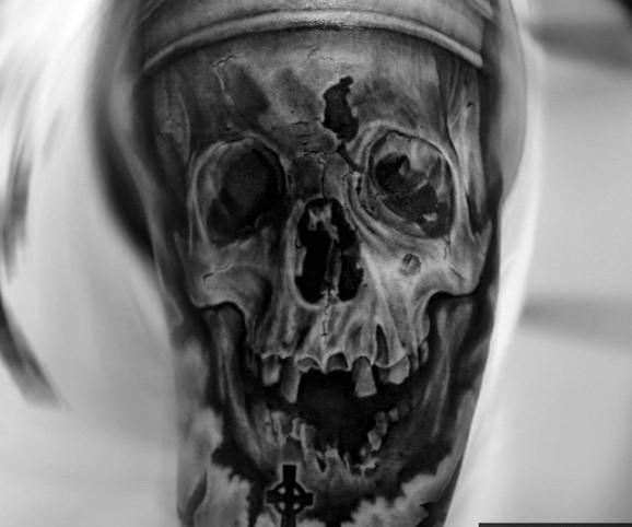 black cemetery tattoo by Gianluca Ferraro