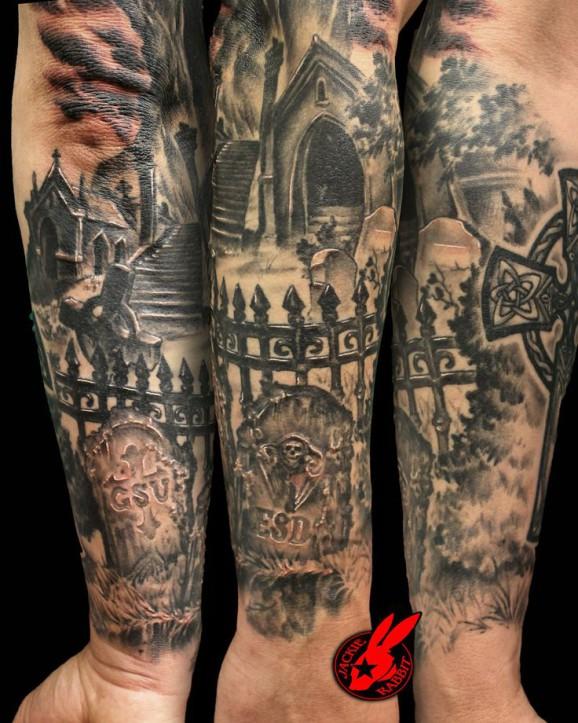 cemetery tattoo design by Jackie Rabbit