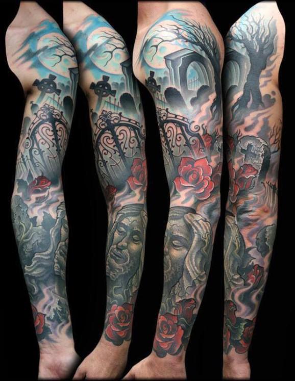 sleeve cemetery tattoo by Jeff Ensminger