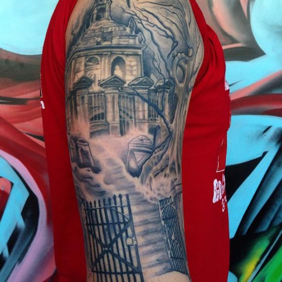 cemetery tattoo designed in black