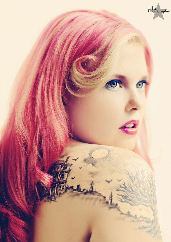 cute cemetery tattoo design for women