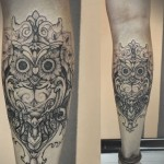 Diana Severinenko leg tattoo design