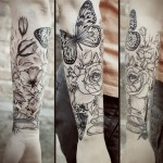 Diana Severinenko rose and butterfly tattoo design